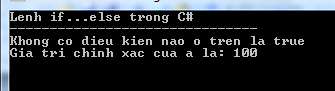Lệnh if...else trong C#